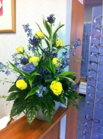 Arrangement in yellow & blues, if you would like different colours please say in order notes which colours you would prefer