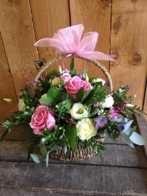 Basket Arrangement in Pinks & Creams